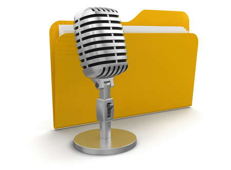 Microphone and Folder  clipping path included