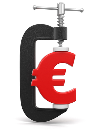 euro screw: Euro in clamp  clipping path included  Stock Photo