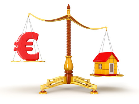 Justice Balance  with Euro and house  clipping path included  photo