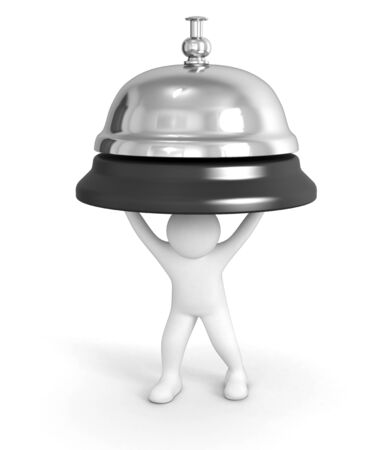service bell: Man with Service bell  clipping path included  Stock Photo