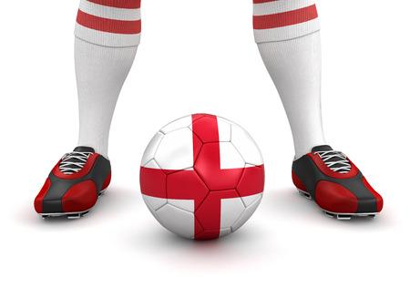 drapeau anglais: Homme et ballon de soccer avec drapeau anglais Banque d'images
