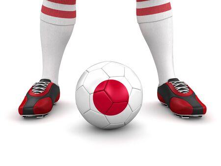bandera japon: El hombre y la pelota de f�tbol con la bandera japonesa