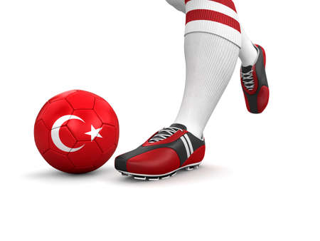 Man and soccer ball  with Turkish flag  photo