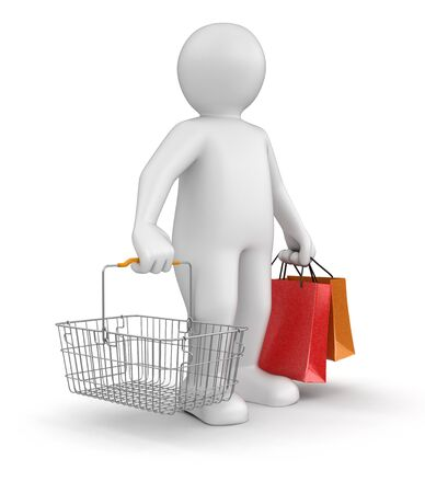 shopping basket: Man with Shopping Basket