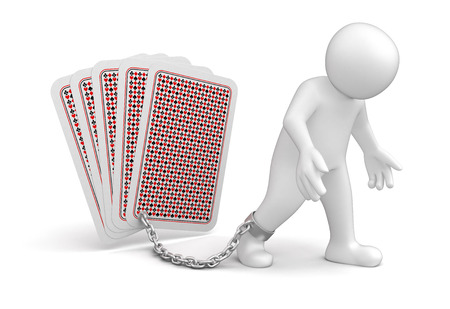 Man and Playing Cards Stock Photo