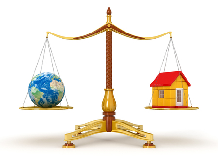 Justice Balance  with Globe and house  clipping path included  photo