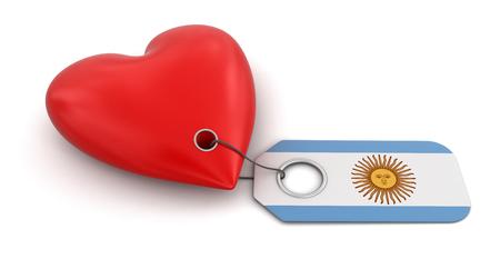bandera argentina: Coraz�n con la bandera de la Argentina