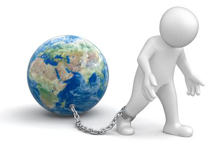 shackles: Man and Globe   Stock Photo