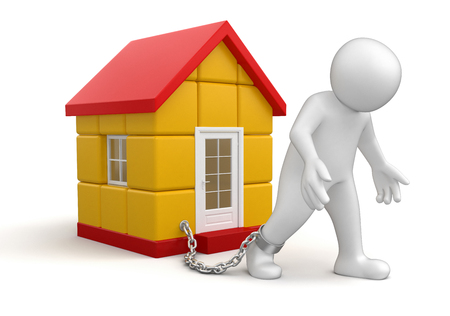 Man and House   Stock Photo