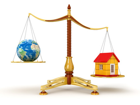 Justice Balance  with Globe and house  photo
