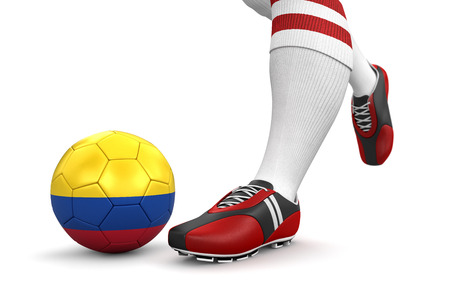 colombian flag: Man and soccer ball  with Colombian flag