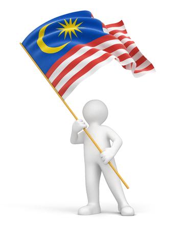 男とマレーシアの国旗 写真素材