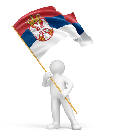 Man and Serbian flag