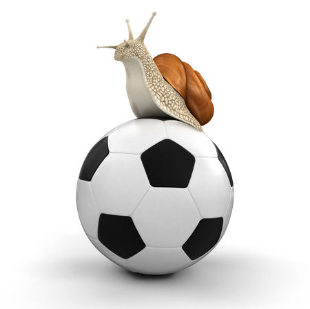 no rush: Snail and Football  Stock Photo