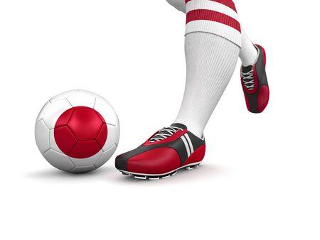 bandera japon: El hombre y la pelota de f�tbol con trazado de recorte incluidos bandera japonesa