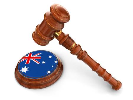 Wooden Mallet and Australian flag