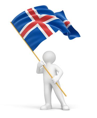 icelandic flag: El hombre y la bandera islandesa Foto de archivo