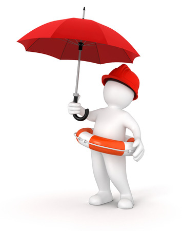 Man with Lifebuoy under Umbrella  photo