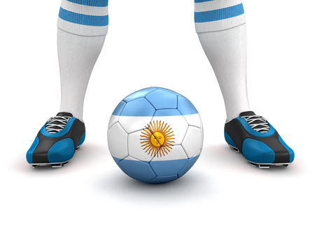 bandera argentina: El hombre y la pelota de f�tbol con la bandera Argentina