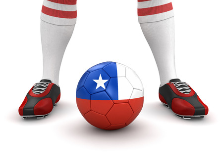 chilean flag: Man and soccer ball  with Chilean flag