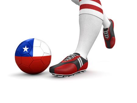 chilean flag: El hombre y la pelota de f�tbol con la bandera chilena