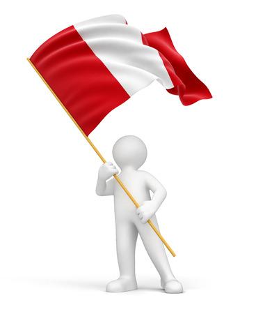 bandera de peru: El hombre y la bandera peruana Foto de archivo