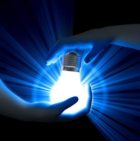 Light Bulb in hands Stock Photo - 22534949