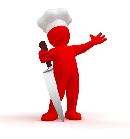 Cook with knife photo