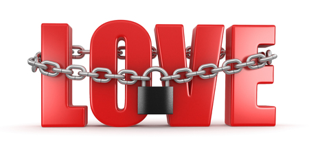 Love and lock  clipping path included  Stock Photo
