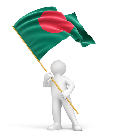 bangladesh 3d: Man and Bangladesh flag    Stock Photo