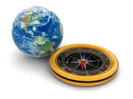 Globe and Compass  clipping path included  photo