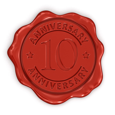 Wax Stamp anniversary 10th  clipping path included  photo