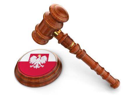polish flag: Wooden Mallet and Polish flag  Stock Photo