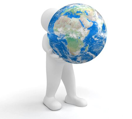 sphere standing: Person and Globe Stock Photo