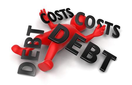 コンセプト債務および費用によって押しつぶさ 3 d の男
