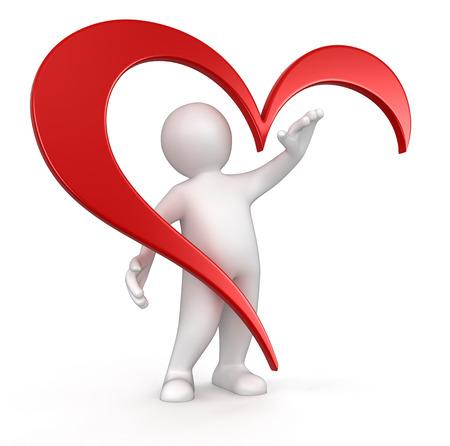 mens en het hart Stockfoto