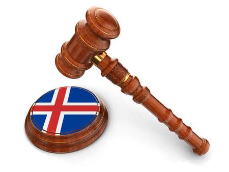icelandic flag: Mazo de madera y el island�s trazado de recorte incluidos bandera