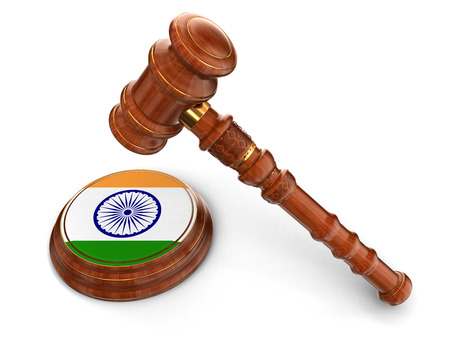 Wooden Mallet and Indian flag  clipping path included  Stock Photo