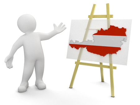 austrian: Man and Austrian map  clipping path included