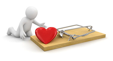 s trap: Man and Mousetrap with heart  clipping path included  Stock Photo