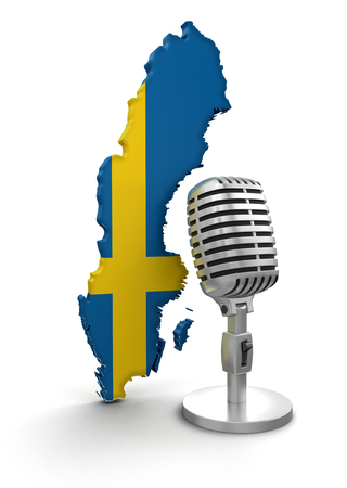 Microphone and Sweden  clipping path included