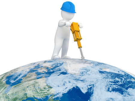 World Worker with jackhammer photo
