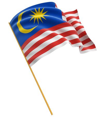 3D flag of Malaysia Standard-Bild
