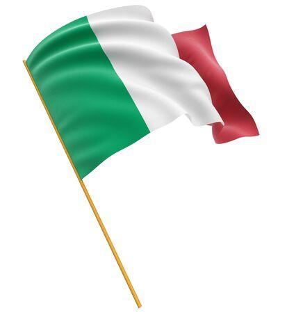italian flag: 3D bandera italiana trazado de recorte incluidos