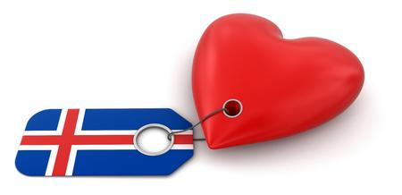 icelandic flag: Coraz�n con la bandera de Islandia
