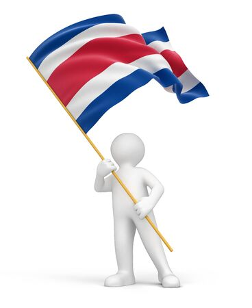 Man and Costa rica flag   Stock Photo