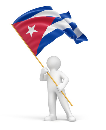 cuban flag: Man and Cuban flag   Stock Photo