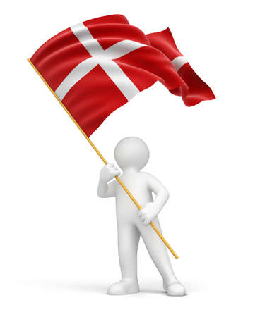 danish flag: Man and Danish flag