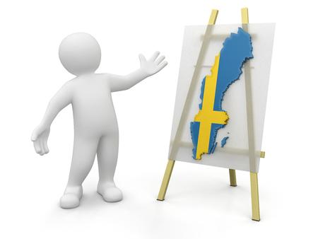 Man and Swedish map   photo