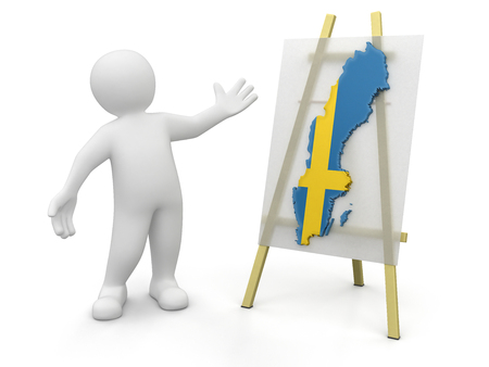 swedish: Man and Swedish map